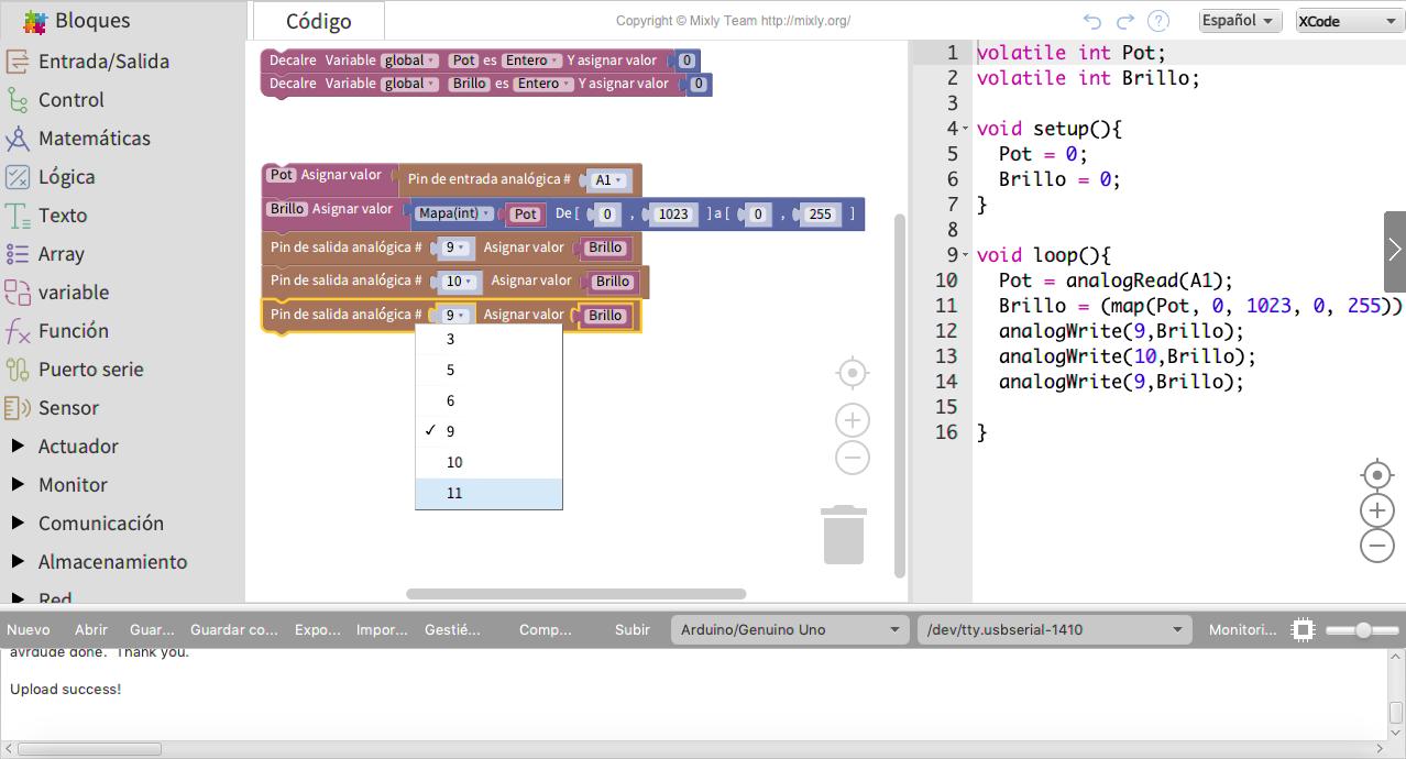 programación por bloques Arduino Mixly